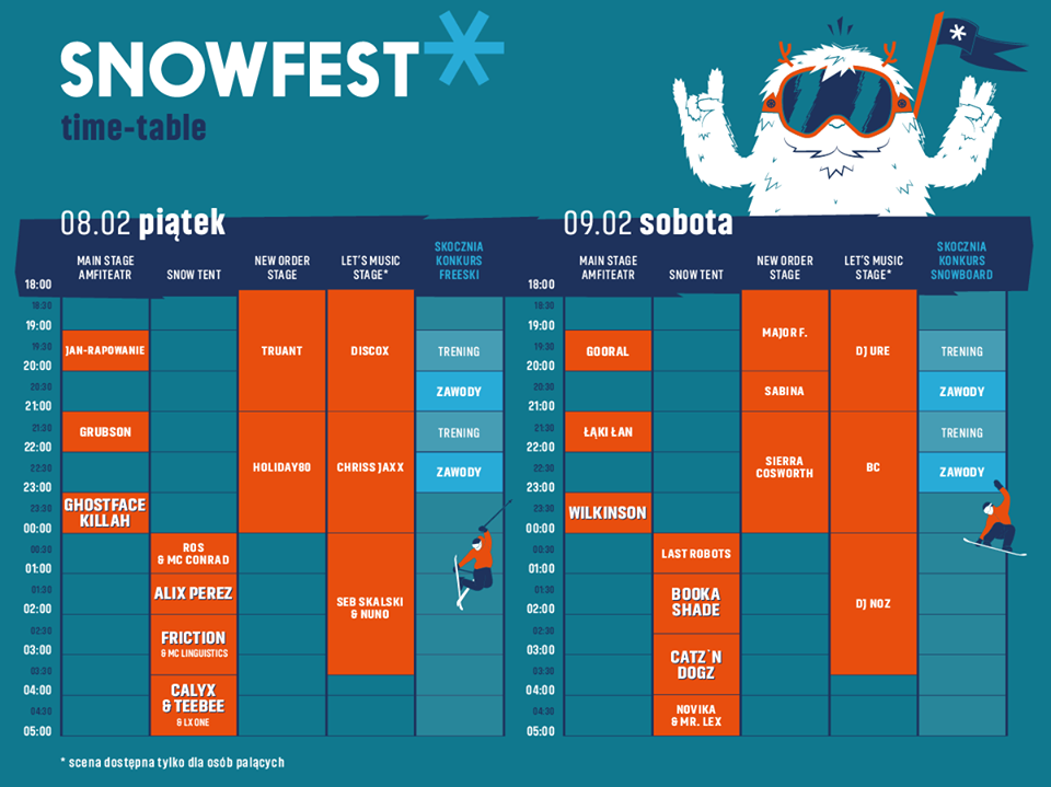 TIME TABLE SNOWFEST 2019